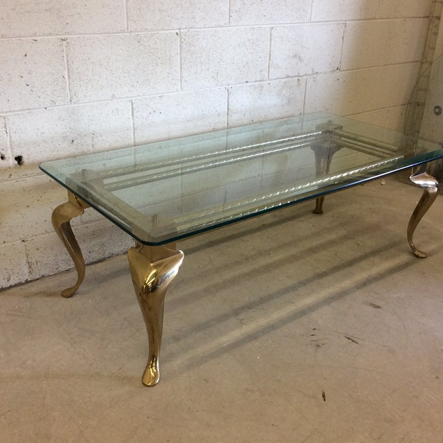 Brass & Glass Cabriolet Leg Coffee Table - Image 4 of 9