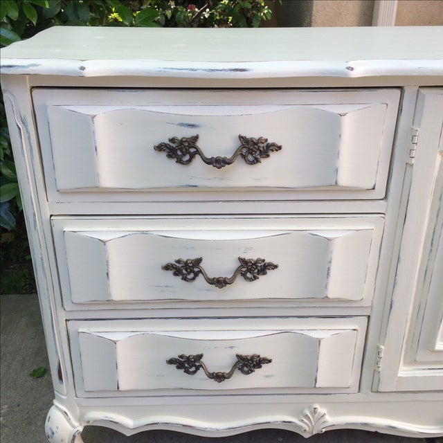French Provincal White Buffet Dresser For Sale - Image 4 of 11