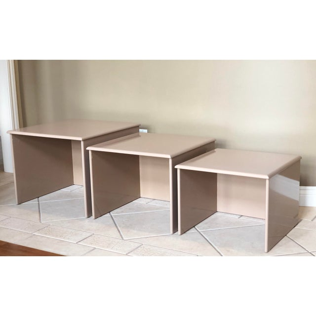 1980s Contemporary Tan Laquer Nesting Tables - Set of 3 For Sale - Image 4 of 9