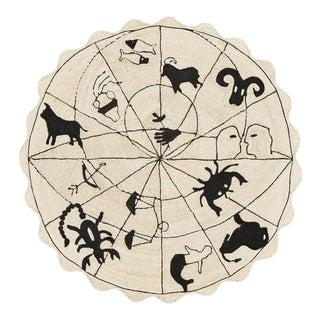 Schumacher Charlap Hyman Herrero Astrologia Zodiac Black Natural Abaca Round Rug For Sale