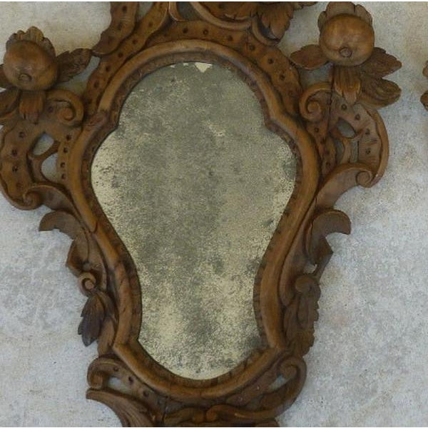 Fine 19th C Italian Venetian Rococo Wood Mirrors With Fruits - a Pair For Sale - Image 4 of 10