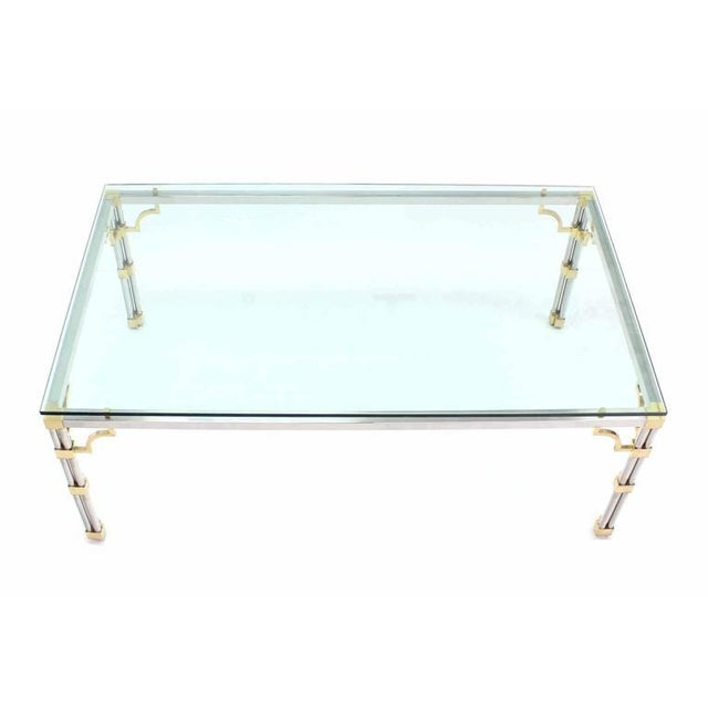 Glass Top Rectangle Chrome Brass Dining Conference Table For Sale - Image 4 of 7