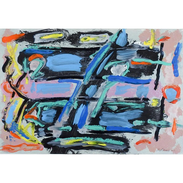 Abstract Blue, Black & Pink Painting on Paper For Sale