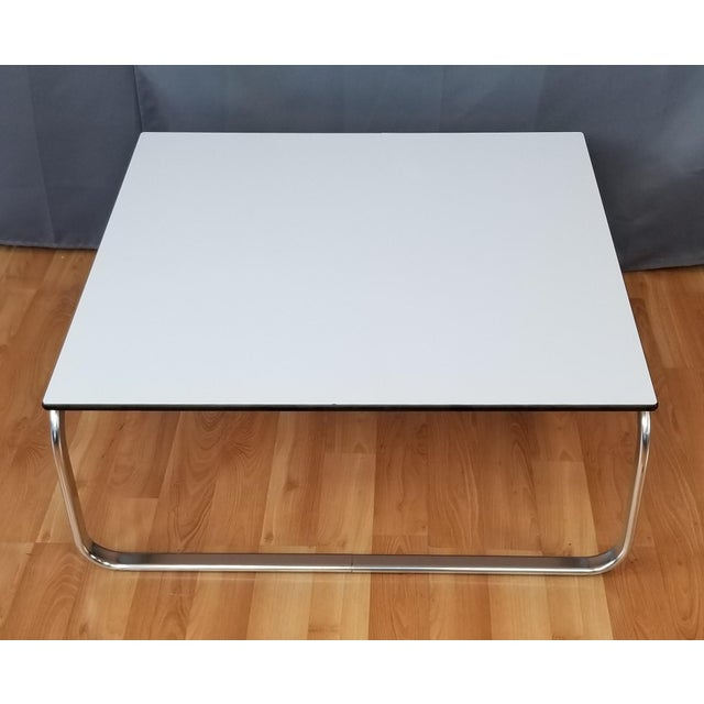 ee7072d2d23c8 Mid-Century Modern Mid-Century Modern Large Square Coffee Table With Chrome  Base White