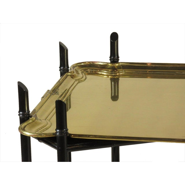 Yale Burge 1960s Regency Style Brass Tea Table For Sale - Image 4 of 11