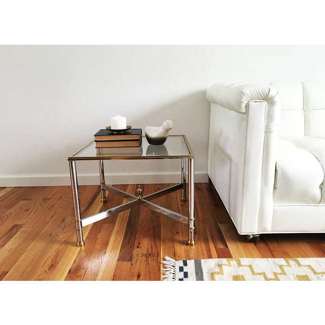 La Barge Brass Chrome & Glass Side Table - Image 6 of 6