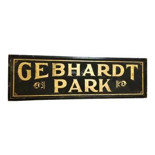 """Antique Gold Leaf Sign """"Gebhardt Park """" For Sale"""