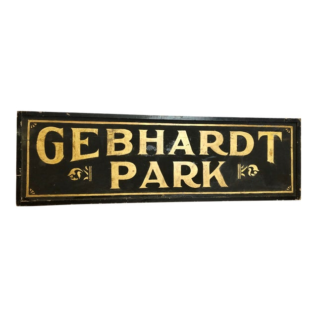 "Antique Gold Leaf Sign ""Gebhardt Park "" For Sale"