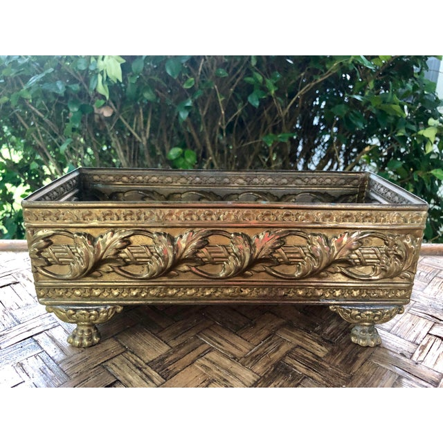 1940s Vintage Brass Repousse Embossed Rectangular Planter For Sale - Image 9 of 9
