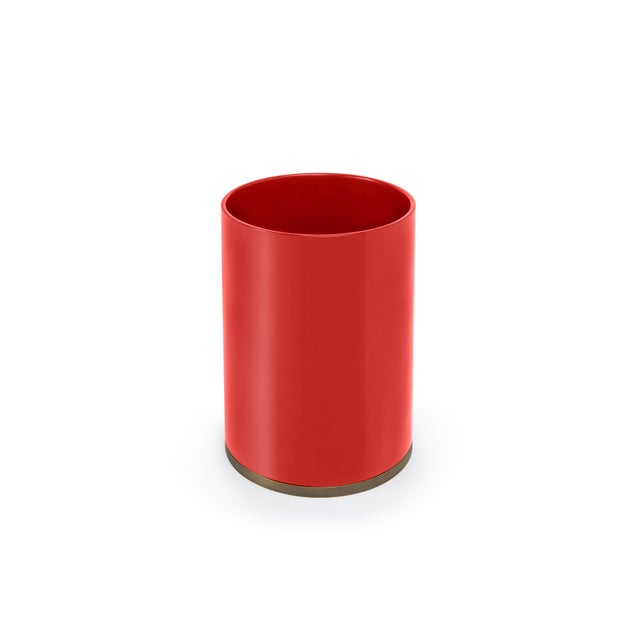 Contemporary Round Bin in Chinese Red - Veere Grenney for The Lacquer Company For Sale - Image 3 of 3