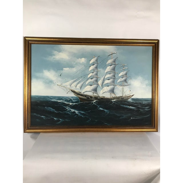 Large Sailing Ship Painting For Sale - Image 13 of 13