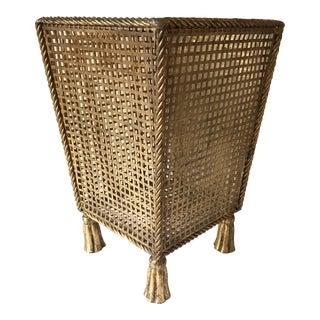 Italian Tassel Waste Basket For Sale