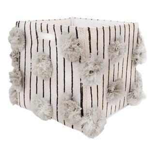 Organic Cotton Striped Pom Pom Storage Bin, Gray For Sale