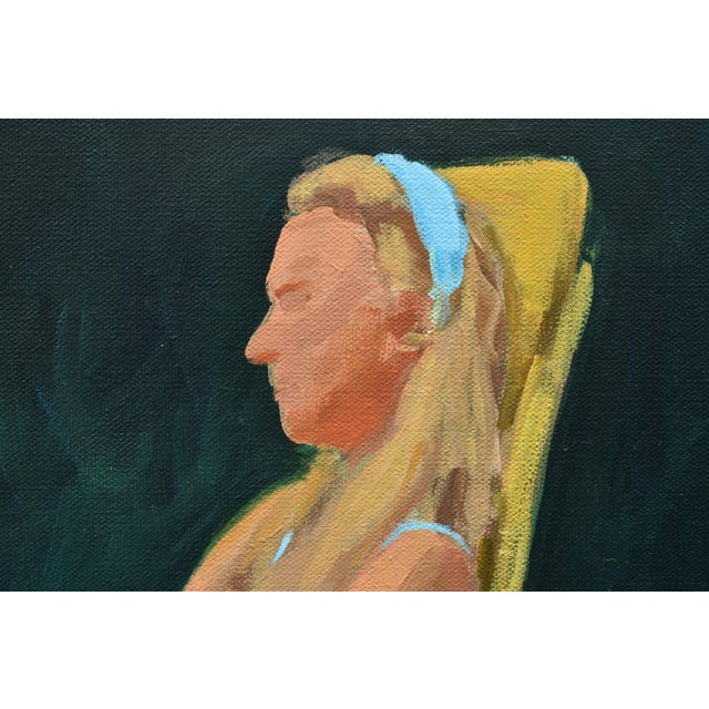 Painting of a Woman Sitting in a Rocking Chair Outside For Sale In Providence - Image 6 of 12