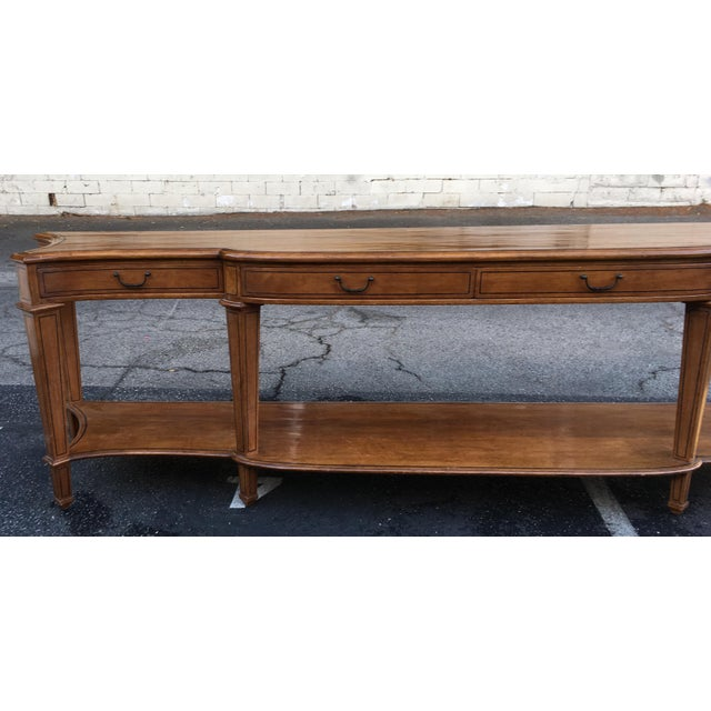 Spectacular Huge Georgian Style Console or Sofa Table. This lovely walnut table is fine designer furniture and features a...