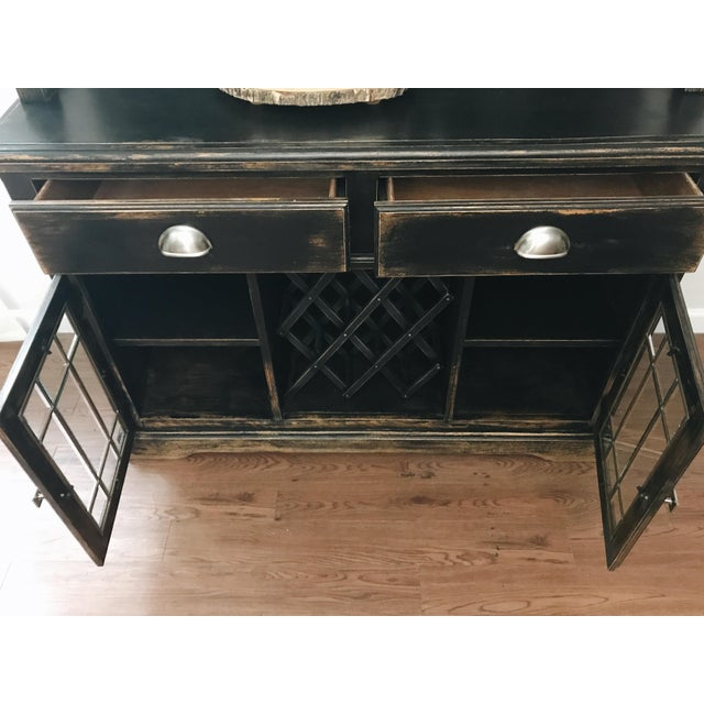 Black Distressed Bistro Coffee Bar Hutch Cabinet For Sale - Image 4 of 11