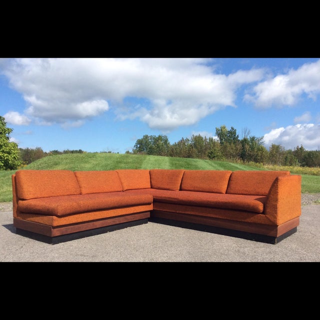 Adrian Pearsall Craft Associates vintage sectional sofa. Set consists of three seat sofa with arms and a armless two...