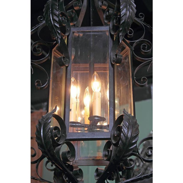 Early 20th Century French Black Four-Light Iron Lantern With Beveled Glass For Sale - Image 4 of 10