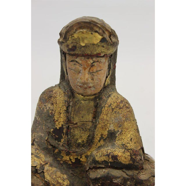 Ancient Asian Buddha Wood Sculpture & Glass Dome For Sale In Detroit - Image 6 of 8