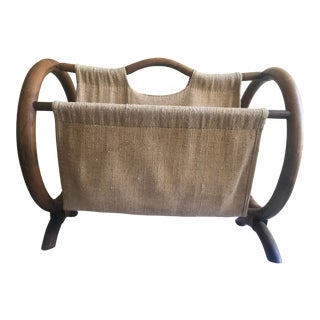 Mid Century Modern Bentwood and Burlap Magazine Holder For Sale