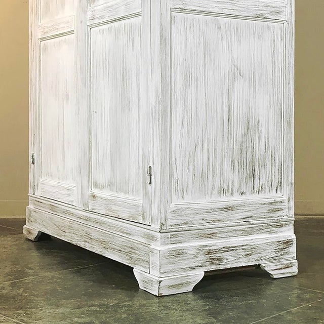 Wood 19th Century Swedish Whitewashed Pine Armoire For Sale - Image 7 of 12