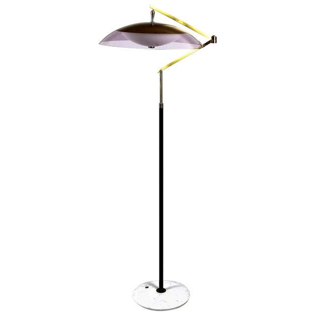 1960´s Standing Lamp by Stilux, marble, steel. brass, perspex lampshade - Italy For Sale