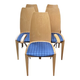 Fillamento Wood + Fabric Chairs - Set of 5 For Sale