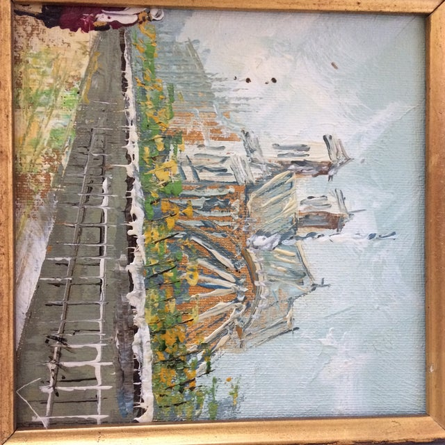 Notre Dame Oil on Canvas Board Painting For Sale In Sacramento - Image 6 of 10