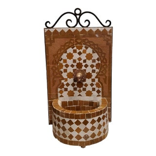 Honey Mustard and White Miniature Moroccan Mosaic Fountain For Sale