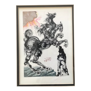 Dali Enferno Canto 6 Cerberus Pencil Signed Color Woodcut From the Divine Comedy For Sale
