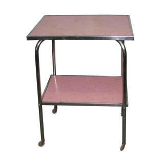 1950s Pink Formica & Chrome Rolling Side Table