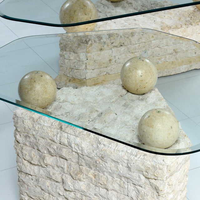 1980s Maitland-Smith Style Mactan Tessellated Stone Orb Pedestal Coffee & End Tables For Sale - Image 5 of 8