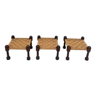Vintage Set of 3 Woven Jute and Mahogany Stools For Sale