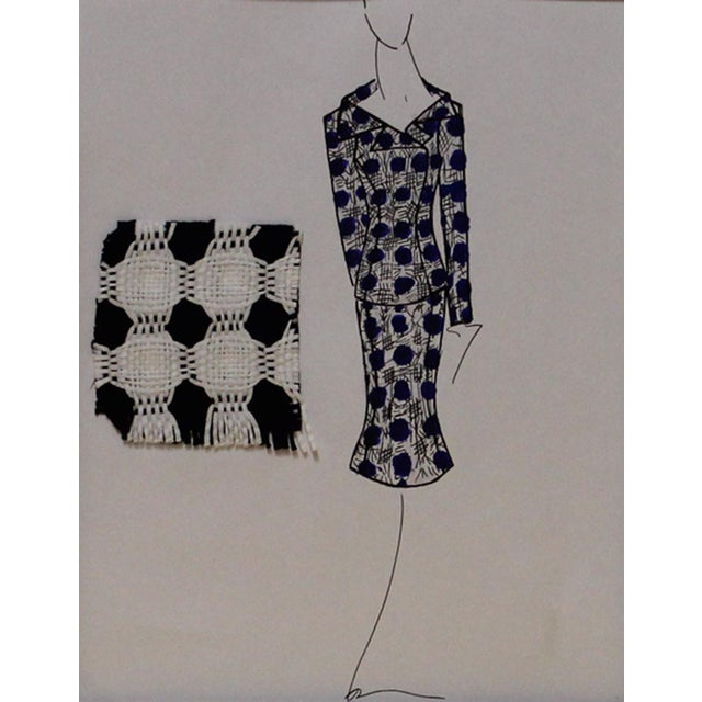 Beautiful blue and white ladies suit fashion illustration with textile swatch, a hand colored ink drawing on paper. From b...