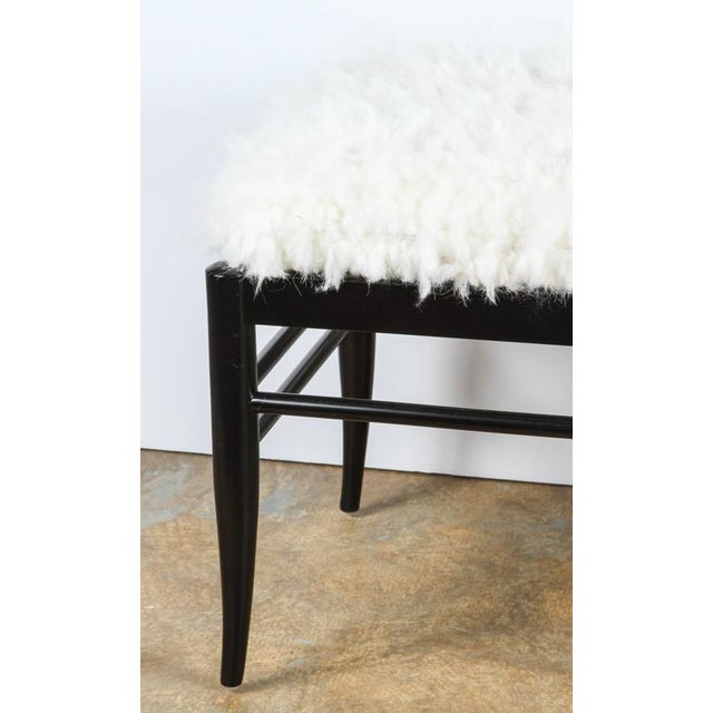 Gio Ponti Inspired Bench in Natural Sheepskin For Sale In Los Angeles - Image 6 of 6