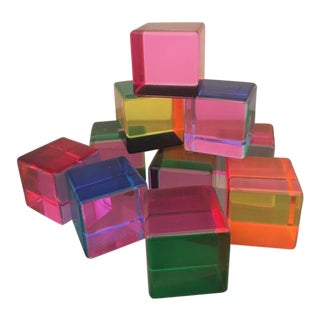 Vasa Signed and Dated Multi Color Acrylic Cube Sculptures - Set of 10 For Sale