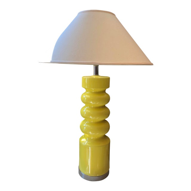 """1970s Modern Yellow """"Big Bird"""" Ceramic and Chrome Table Lamp For Sale"""