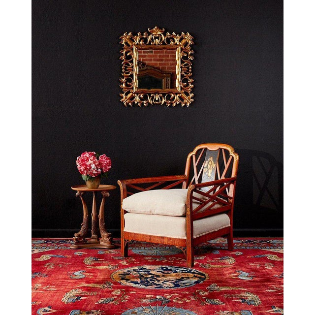 Attractive English Chinese Chippendale style armchair or lounge chair decorated in the chinoiserie revival style. Features...