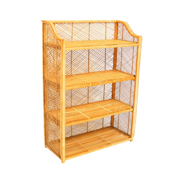 Natural Rattan Bamboo Etagere - Image 1 of 6