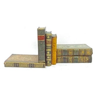 Antique Leather Bound Books - Set of 6 For Sale