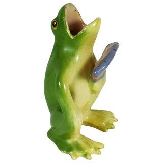 1900 Majolica Frog With Fan Jerome Massier Figurine For Sale