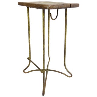 French Oak Top Bar Stool With Yellow Painted Iron Base For Sale