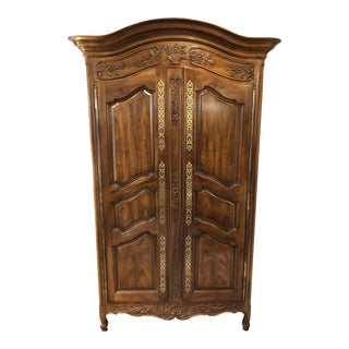 French Country Solid Walnut Armoire - 84""