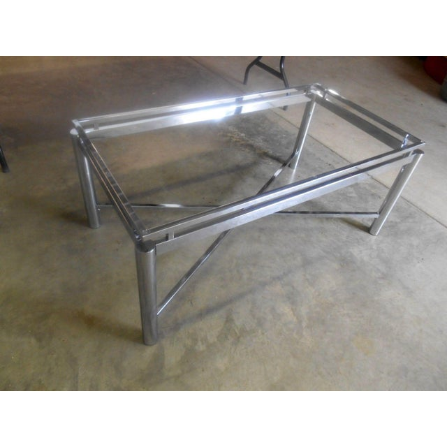 Vintage Mid-Century Modern Chrome & Floating Glass Top Coffee Table For Sale - Image 5 of 9