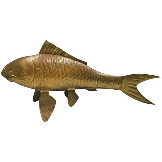 Vintage Brass Koi Fish Statue For Sale - Image 11 of 12