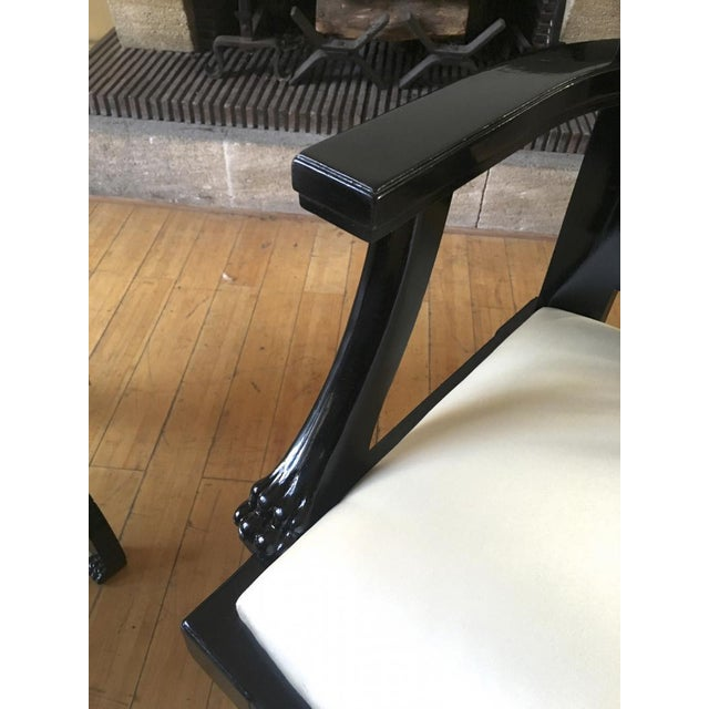 Maison Jansen Chicest Black Neoclassic Exceptional Pair of Armchairs For Sale - Image 6 of 8