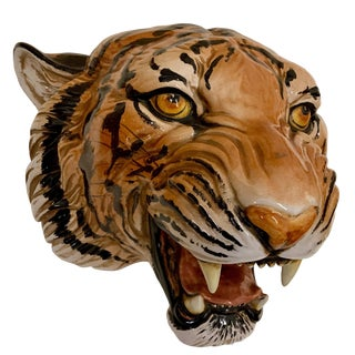 Large Scale Italian Terracotta Tiger Head For Sale