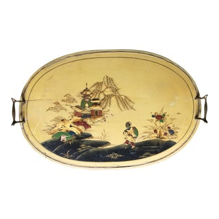 Antique Yellow Chinoiserie Painted Tray For Sale