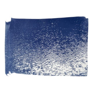 Handmade Cyanotype on Watercolor Paper, Blue Lake Ripples, Limited Series 50x70cm For Sale