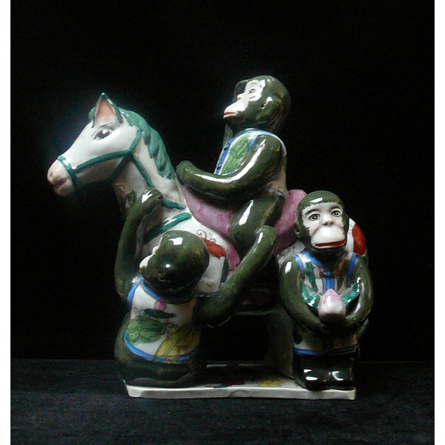 Handmade Ceramic Monkey and Horse Statue For Sale - Image 4 of 4